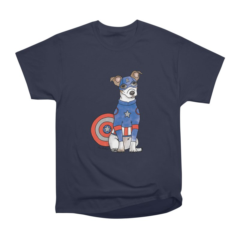 Captain America Pooch Women's Heavyweight Unisex T-Shirt by Tara Joy Andrews