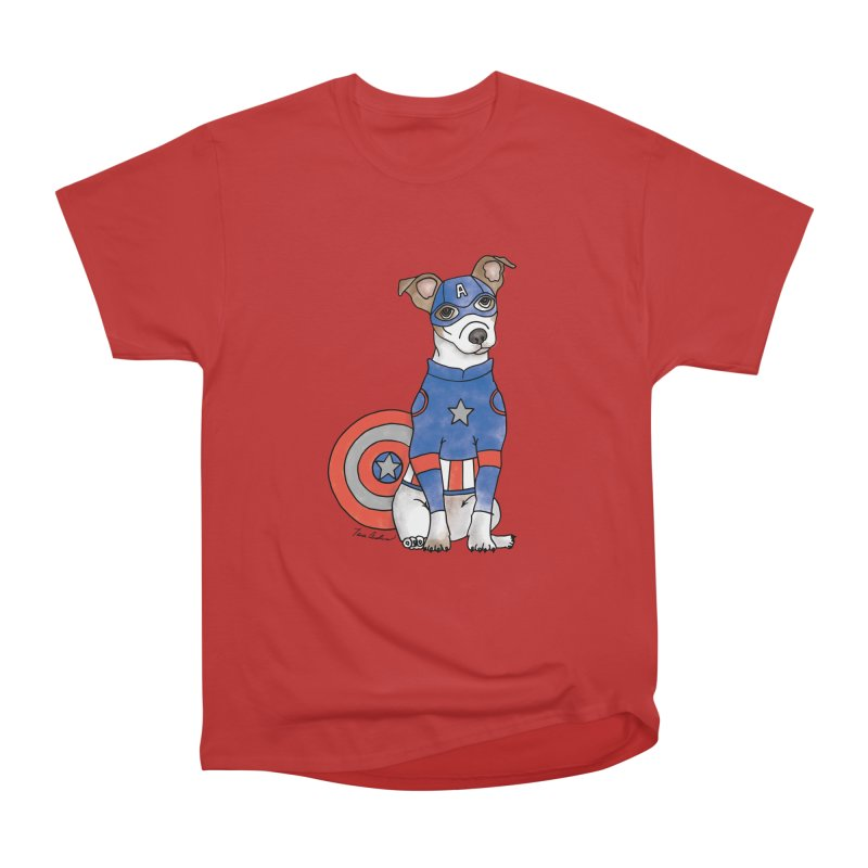 Captain America Pooch Men's Heavyweight T-Shirt by Tara Joy Andrews