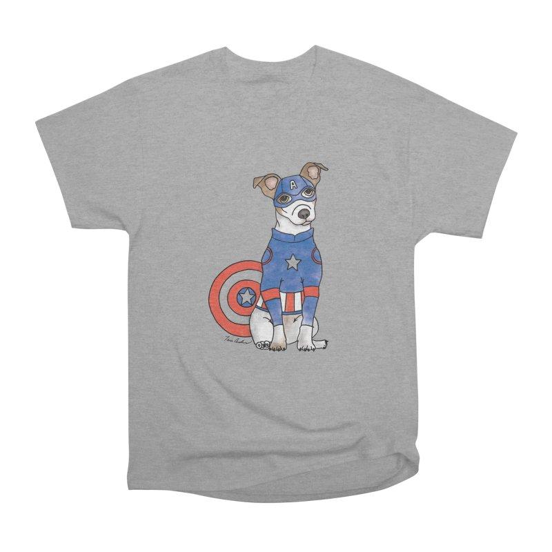 Captain America Pooch Women's Heavyweight Unisex T-Shirt by Tara Joy Andrews