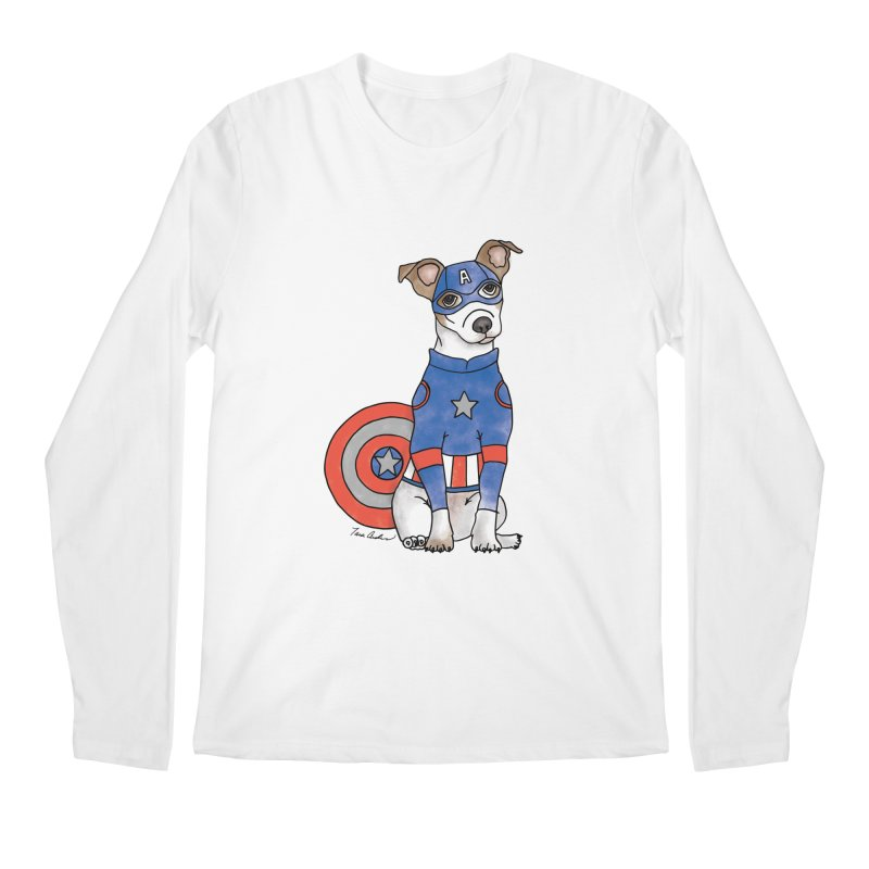 Captain America Pooch Men's Regular Longsleeve T-Shirt by Tara Joy Andrews