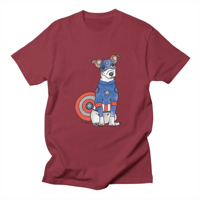 Captain America Pooch Men's Regular T-Shirt by Tara Joy Andrews