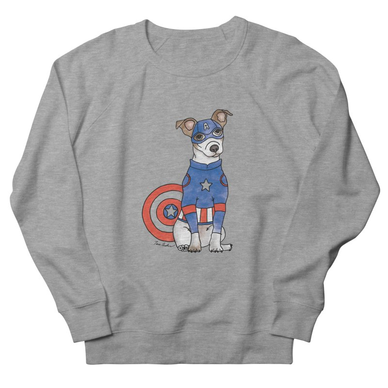 Captain America Pooch Men's French Terry Sweatshirt by Tara Joy Andrews