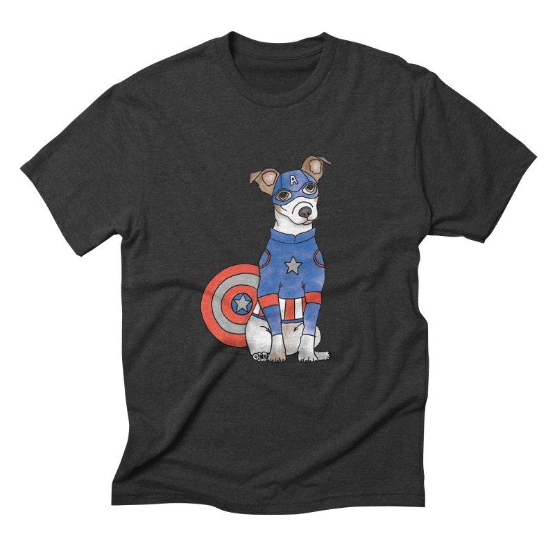 Captain America Pooch Men's Triblend T-Shirt by Tara Joy Andrews