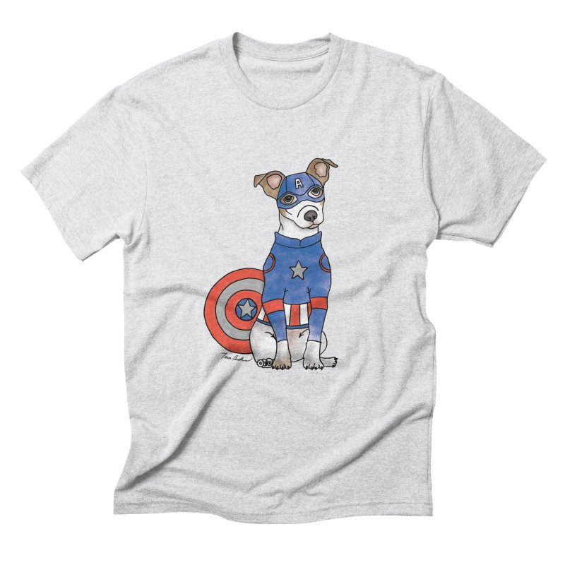 Captain America Pooch Men's Triblend T-Shirt by Tara Joy Andrews