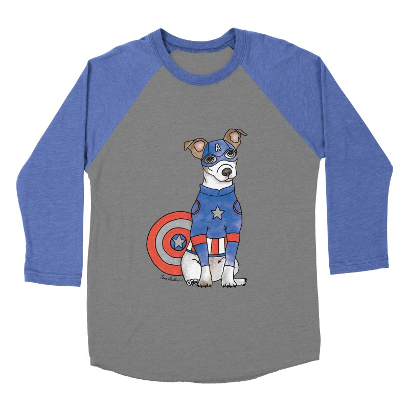 Captain America Pooch Women's Baseball Triblend Longsleeve T-Shirt by Tara Joy Andrews