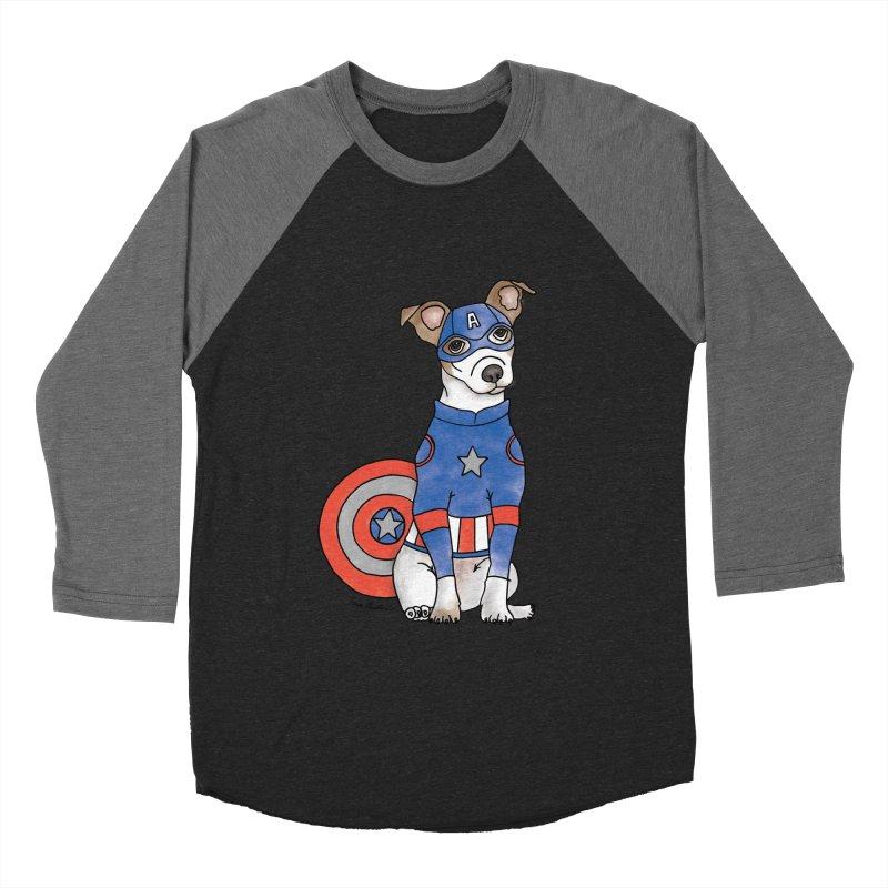 Captain America Pooch Men's Baseball Triblend Longsleeve T-Shirt by Tara Joy Andrews