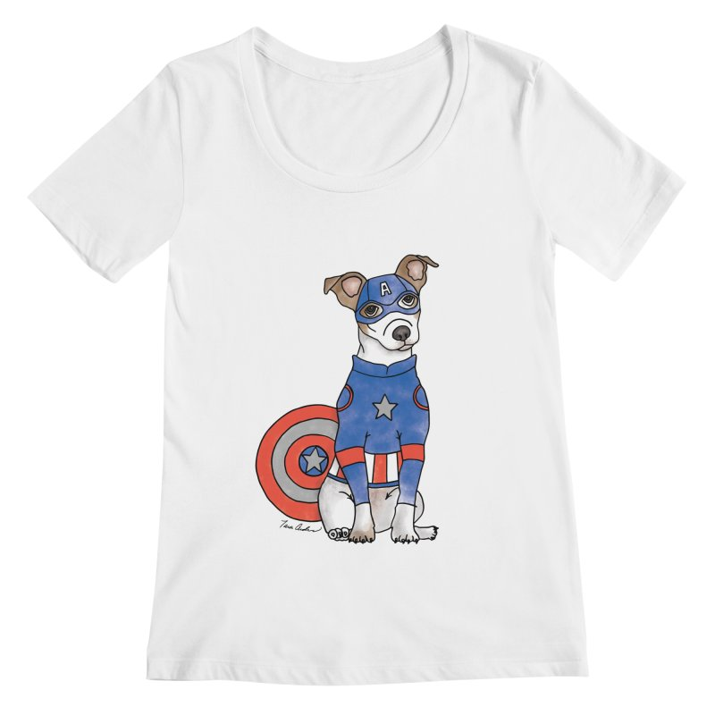 Captain America Pooch Women's Regular Scoop Neck by Tara Joy Andrews