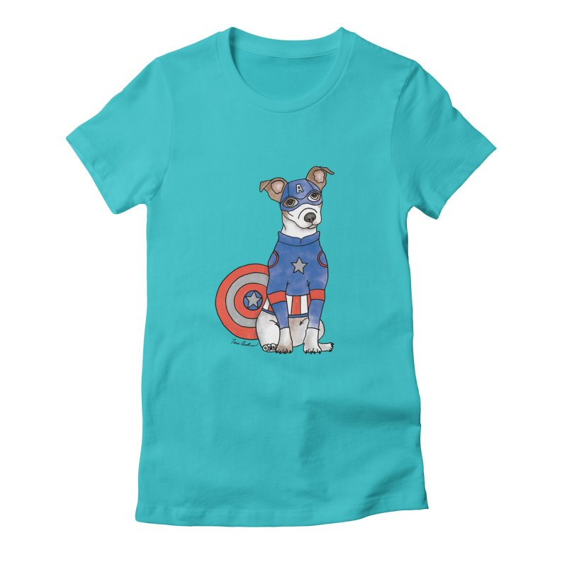 Captain America Pooch Women's T-Shirt by Tara Joy Andrews