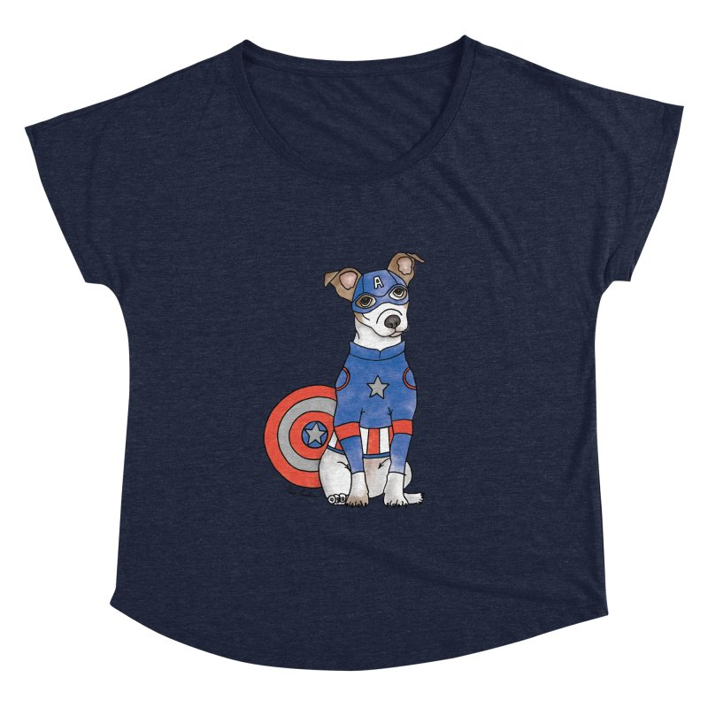 Captain America Pooch Women's Dolman Scoop Neck by Tara Joy Andrews