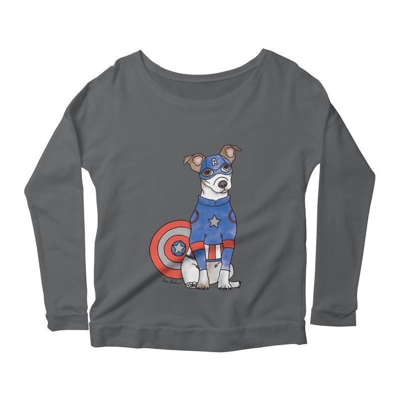 Captain America Pooch Women's Scoop Neck Longsleeve T-Shirt by Tara Joy Andrews