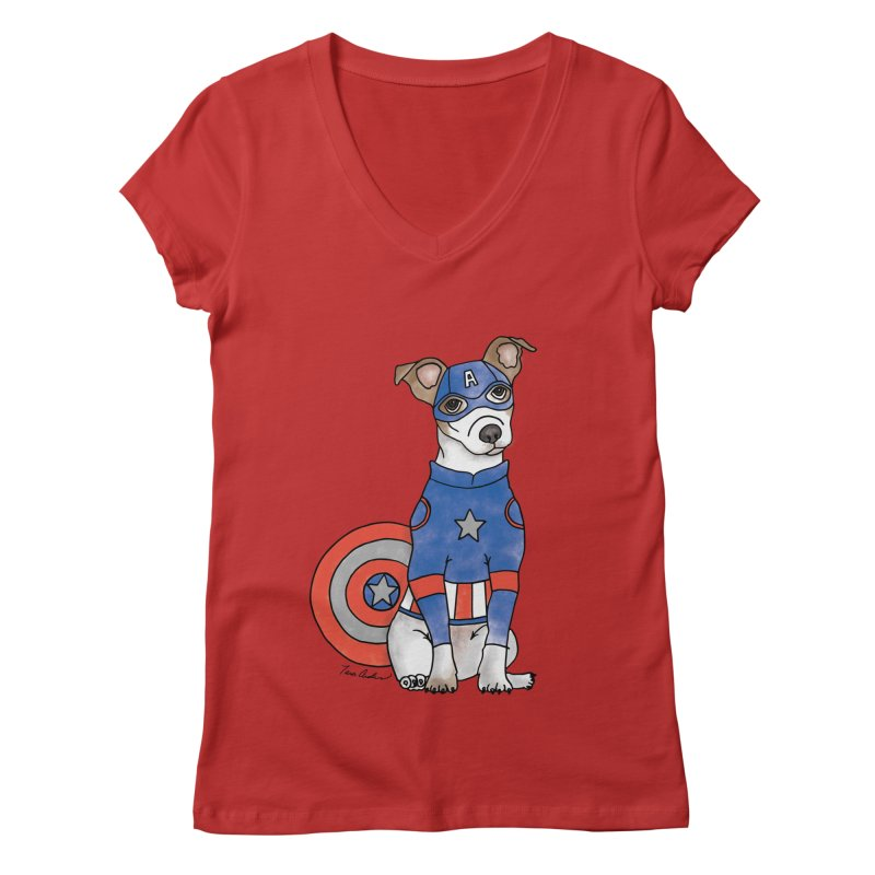 Captain America Pooch Women's Regular V-Neck by Tara Joy Andrews