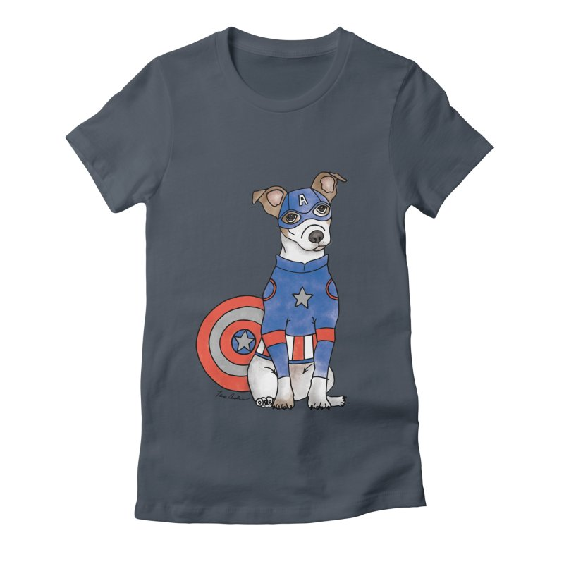 Captain America Pooch Women's Fitted T-Shirt by Tara Joy Andrews