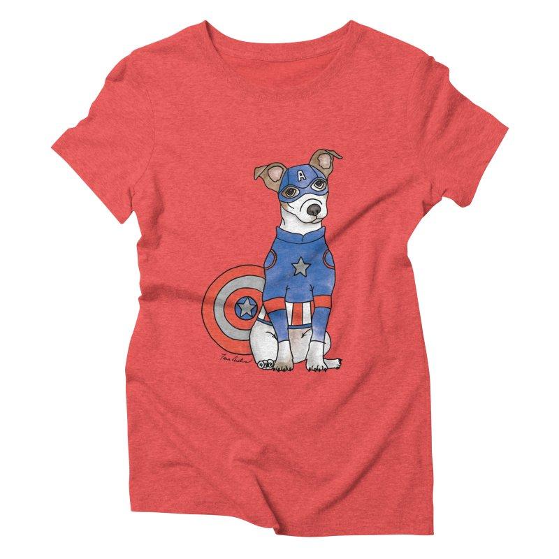 Captain America Pooch Women's Triblend T-Shirt by Tara Joy Andrews