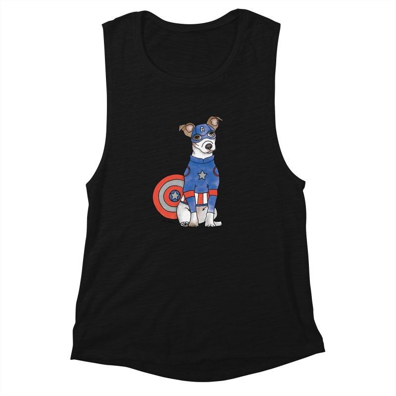 Captain America Pooch Women's Muscle Tank by Tara Joy Andrews