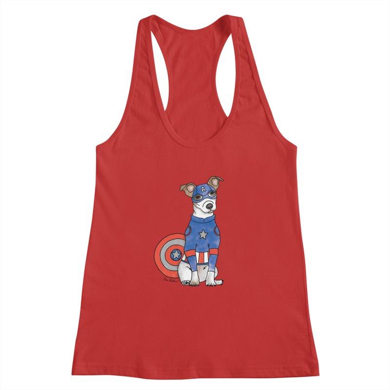 Captain America Pooch Women's Racerback Tank by Tara Joy Andrews