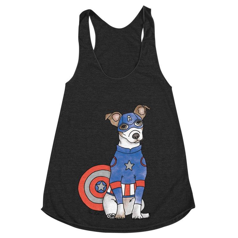 Captain America Pooch Women's Racerback Triblend Tank by Tara Joy Andrews