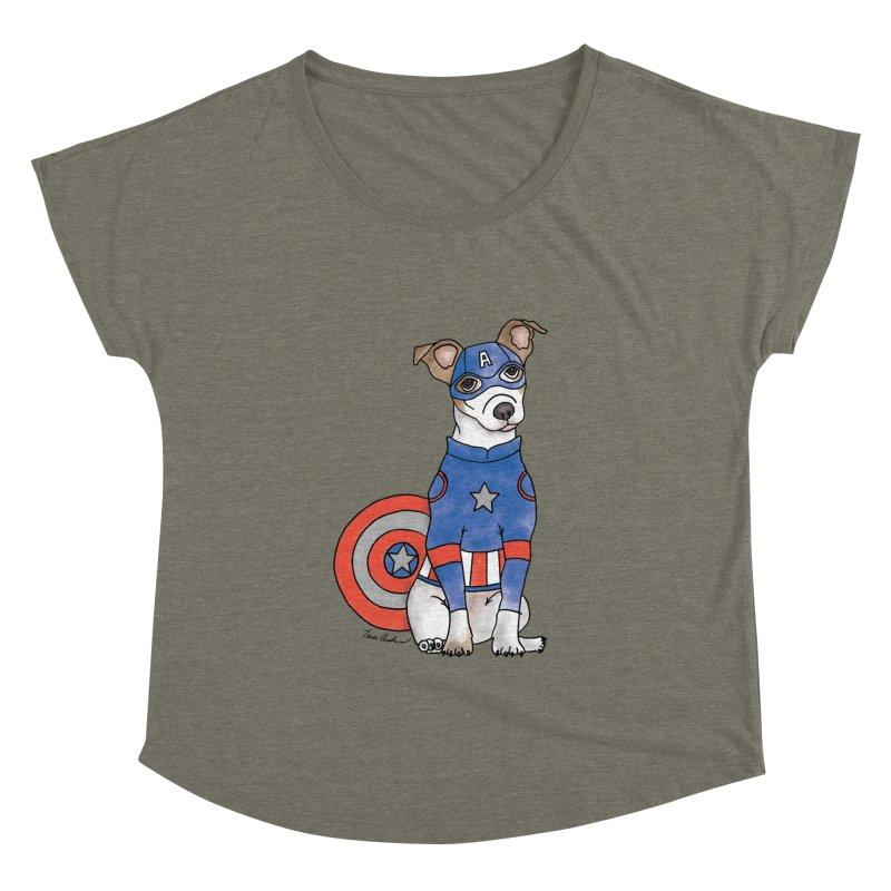 Captain America Pooch Women's Scoop Neck by Tara Joy Andrews