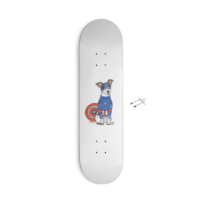 Captain America Pooch Accessories With Hanging Hardware Skateboard by Tara Joy Andrews