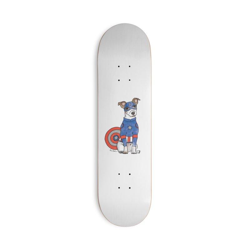 Captain America Pooch Accessories Skateboard by Tara Joy Andrews