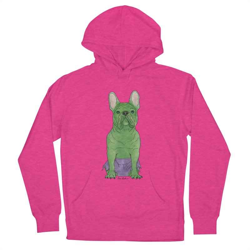 Incredible French Bulldog Hulk Men's French Terry Pullover Hoody by Tara Joy Andrews