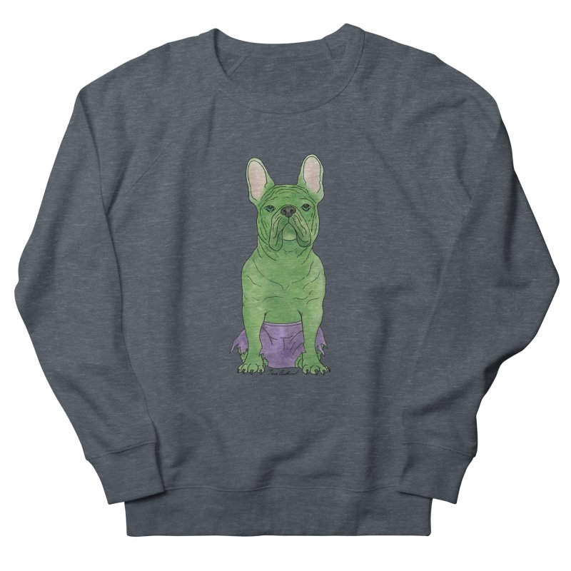 Incredible French Bulldog Hulk Women's French Terry Sweatshirt by Tara Joy Andrews