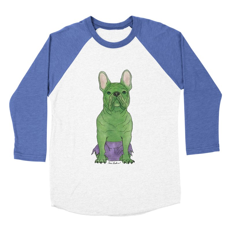 Incredible French Bulldog Hulk Women's Baseball Triblend Longsleeve T-Shirt by Tara Joy Andrews