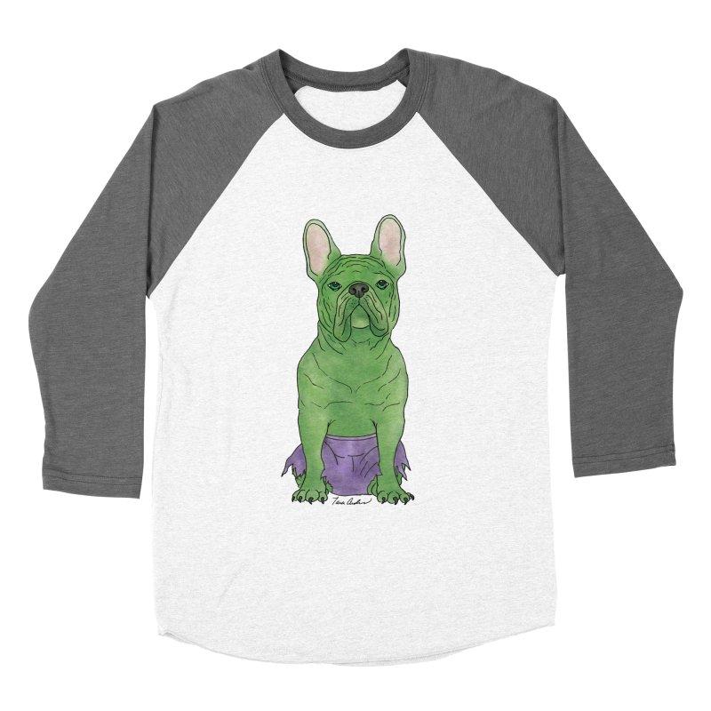 Incredible French Bulldog Hulk Men's Baseball Triblend Longsleeve T-Shirt by Tara Joy Andrews