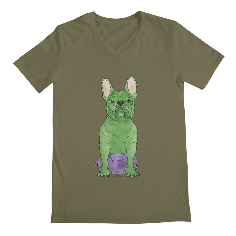 Incredible French Bulldog Hulk Men's Regular V-Neck by Tara Joy Andrews