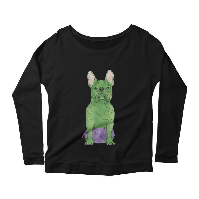 Incredible French Bulldog Hulk Women's Scoop Neck Longsleeve T-Shirt by Tara Joy Andrews