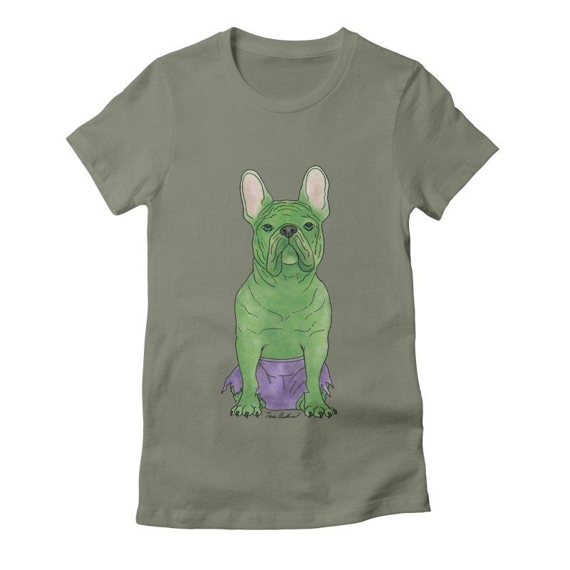 Incredible French Bulldog Hulk Women's Fitted T-Shirt by Tara Joy Andrews