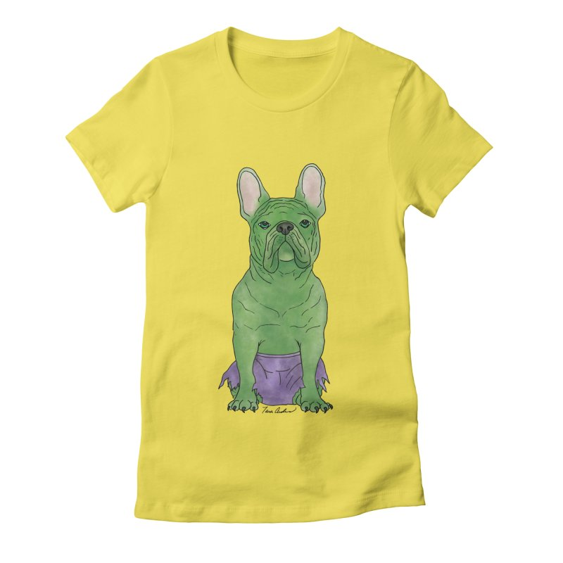 Incredible French Bulldog Hulk Women's Fitted T-Shirt by Tara Joy Andrews