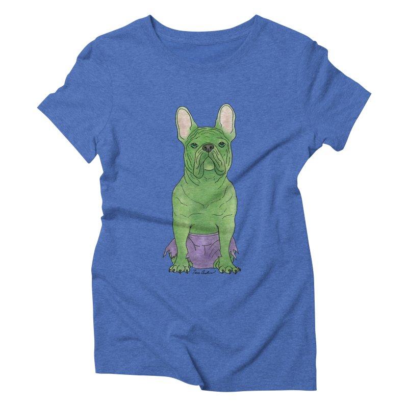 Incredible French Bulldog Hulk Women's Triblend T-Shirt by Tara Joy Andrews