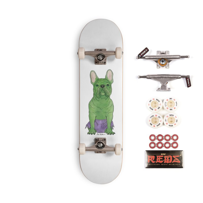 Incredible French Bulldog Hulk Accessories Complete - Pro Skateboard by Tara Joy Andrews