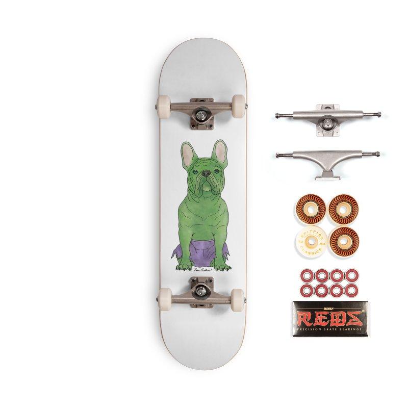 Incredible French Bulldog Hulk Accessories Skateboard by Tara Joy Andrews
