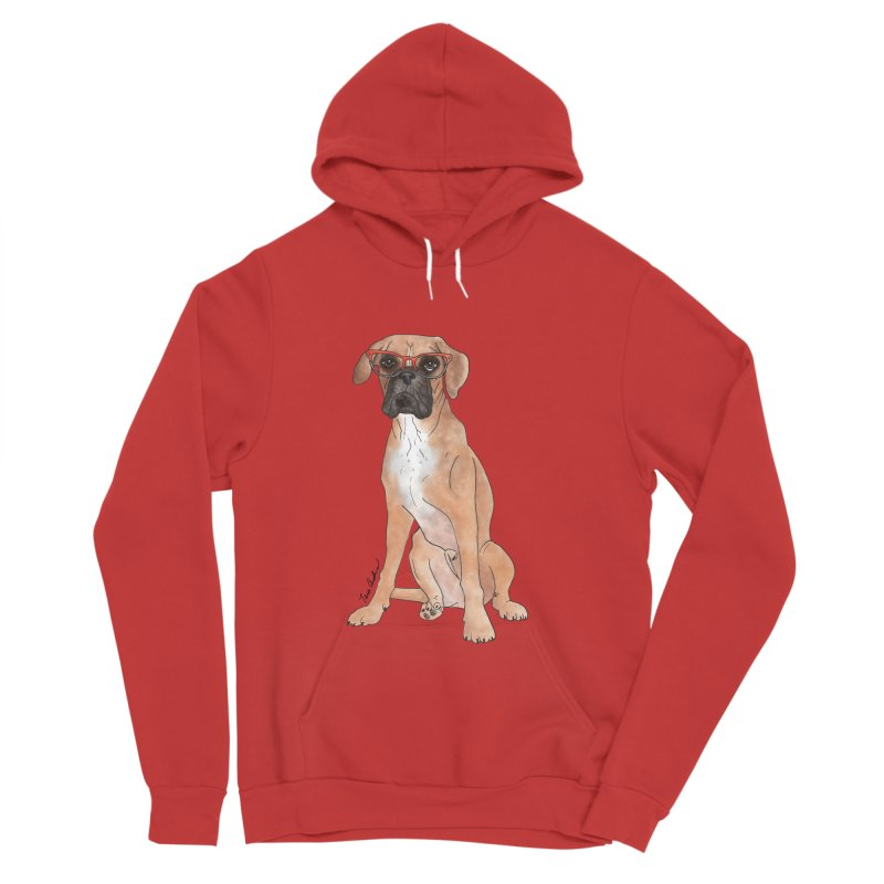 Boxer wearing glasses Women's Sponge Fleece Pullover Hoody by Tara Joy Andrews