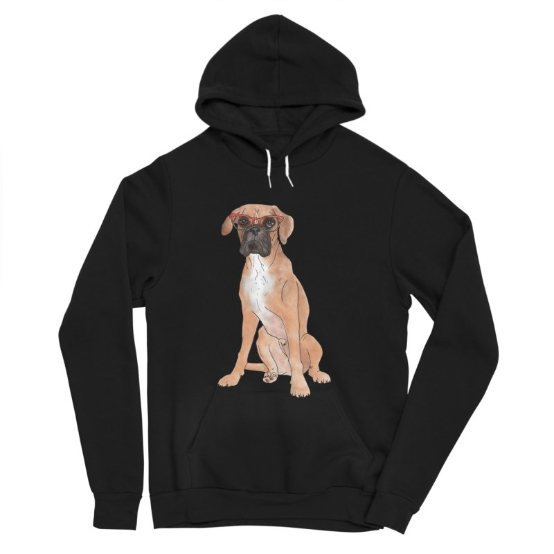 Boxer wearing glasses Men's Sponge Fleece Pullover Hoody by Tara Joy Andrews