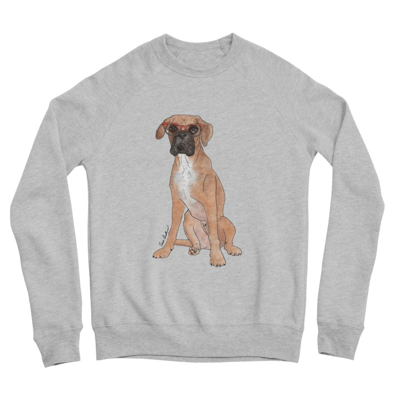 Boxer wearing glasses Women's Sponge Fleece Sweatshirt by Tara Joy Andrews