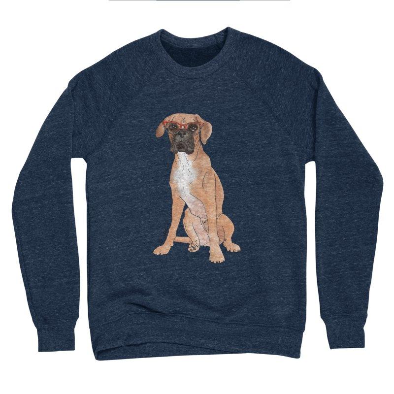 Boxer wearing glasses Men's Sponge Fleece Sweatshirt by Tara Joy Andrews