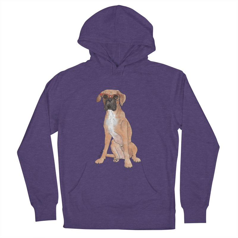 Boxer wearing glasses Women's French Terry Pullover Hoody by Tara Joy Andrews