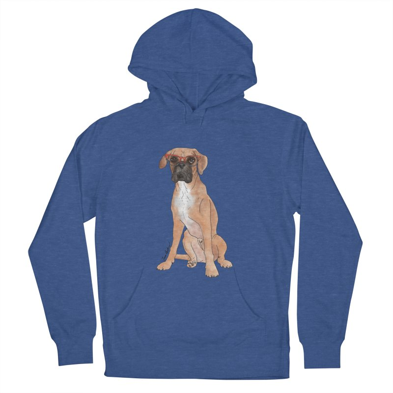 Boxer wearing glasses Men's French Terry Pullover Hoody by Tara Joy Andrews