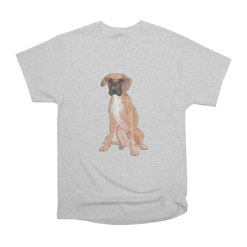 Boxer wearing glasses Men's Heavyweight T-Shirt by Tara Joy Andrews