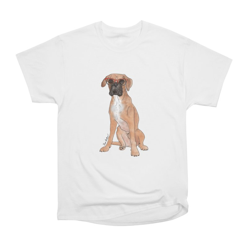Boxer wearing glasses Women's Heavyweight Unisex T-Shirt by Tara Joy Andrews