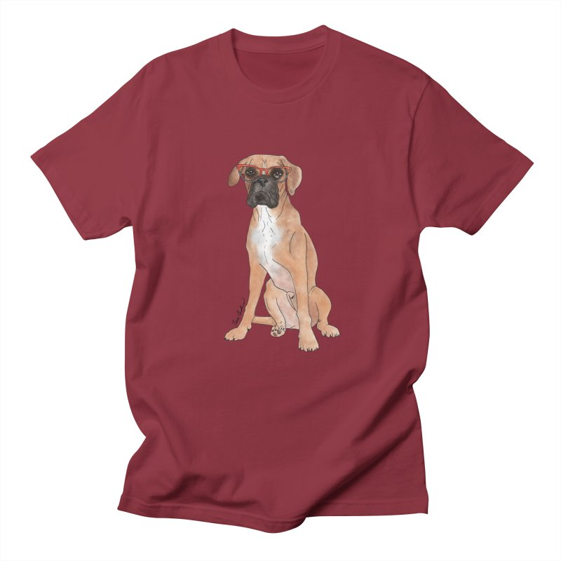 Boxer wearing glasses Men's Regular T-Shirt by Tara Joy Andrews