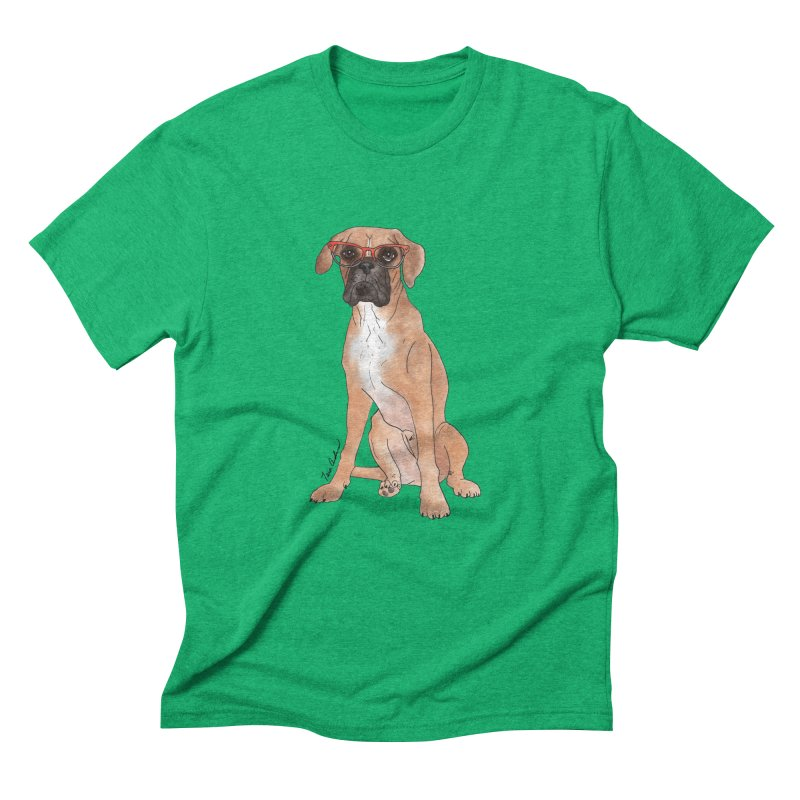 Boxer wearing glasses Men's Triblend T-Shirt by Tara Joy Andrews