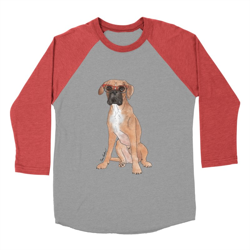 Boxer wearing glasses Women's Baseball Triblend Longsleeve T-Shirt by Tara Joy Andrews