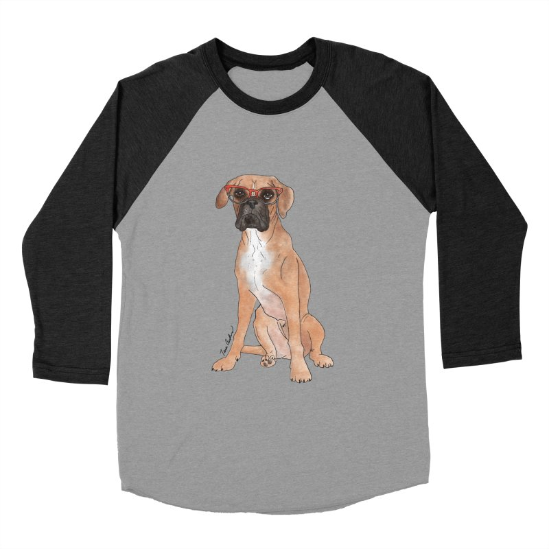 Boxer wearing glasses Women's Baseball Triblend Longsleeve T-Shirt by Tara Joy Andrews
