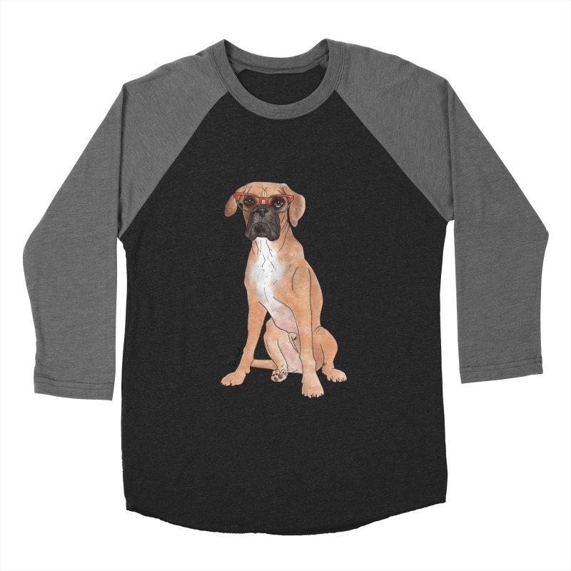 Boxer wearing glasses Men's Baseball Triblend Longsleeve T-Shirt by Tara Joy Andrews