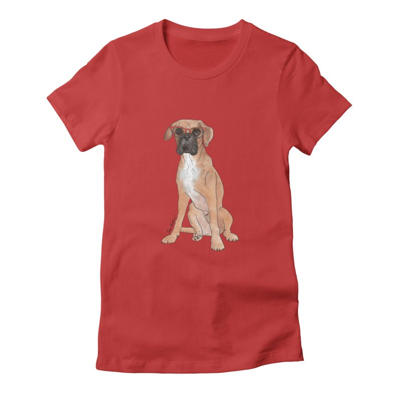 Boxer wearing glasses Women's T-Shirt by Tara Joy Andrews