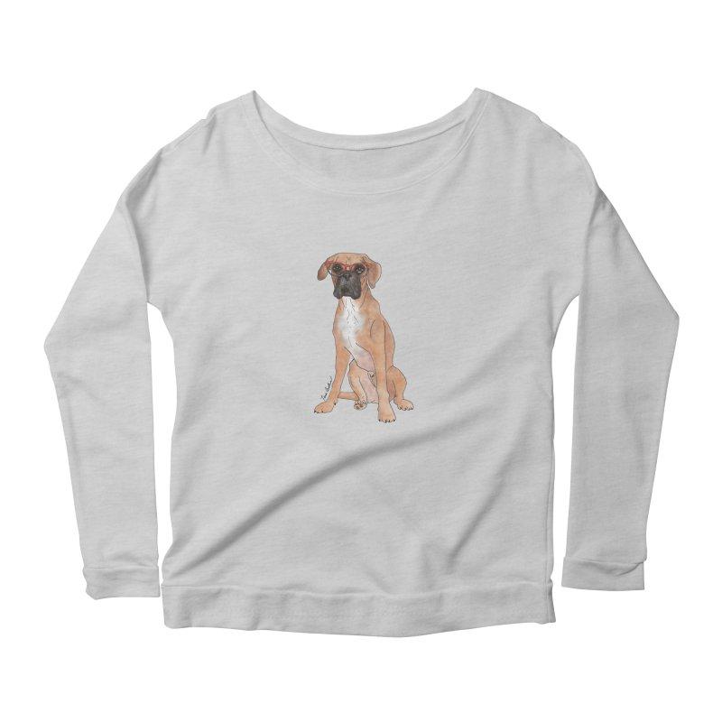 Boxer wearing glasses Women's Scoop Neck Longsleeve T-Shirt by Tara Joy Andrews