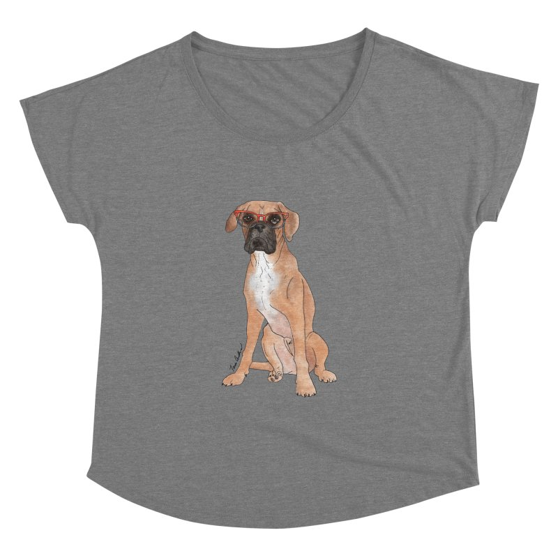 Boxer wearing glasses Women's Dolman Scoop Neck by Tara Joy Andrews